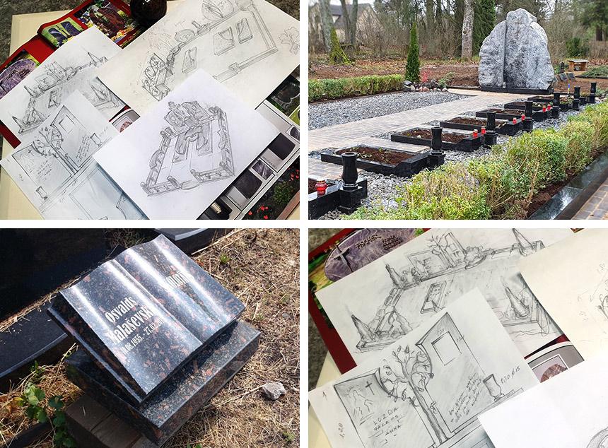 Kapu labiekārtošanas dizainera pakalpojumi un kapu pieminekļa projekta vizualizācija